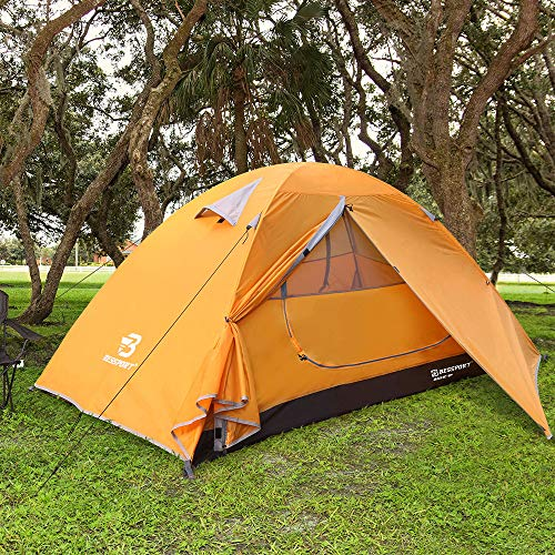Bessport Backpacking Tent 1-2Person Ultralight Camping Tent Waterproof Two Doors Tent Instant Setup - Less Than 1 Min for Camping, Hiking Mountaineering Expeditions (Orange)