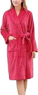 HX fashion Ladies Mens Bathrobe Long Thicken Warm Coral Fleece Dressing Comfortable Sizes Gown Long Sleeve V-Neck Comforta...