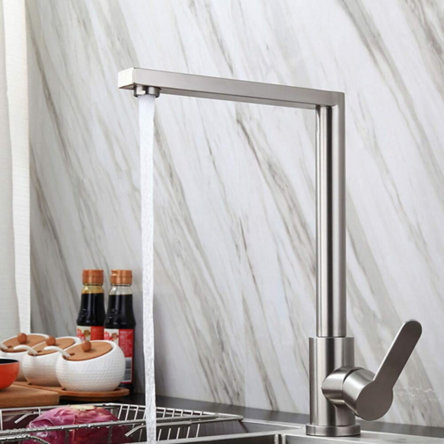 Fire wolf Kitchen faucet:Kitchen Faucet - Single Handle One Hole Stainless Steel Standard Spout Ordinary Kitchen Taps Satin Chrome