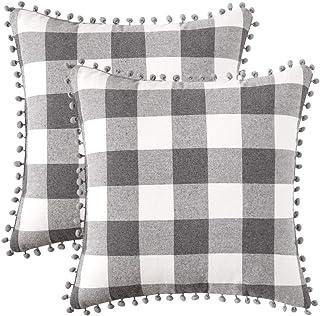 MIULEE Set of 2 Retro Farmhouse Buffalo Plaid Check Pillow Cases with Pom-poms Decorative Throw Pillow Covers Cushion Case...