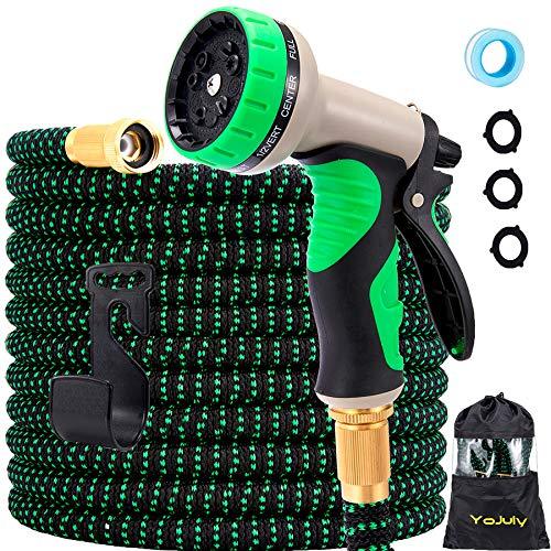Expandable garden hose - super durable 3750d garden water hose/strongest triple latex,durable outdoor gardening flexible hose for watering (Green, 100FT)