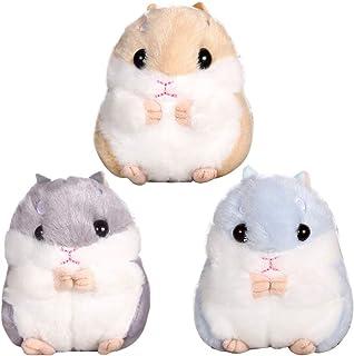 Hamster Keychain - ZSWQ Cute Hamster Keyring, Pendant Keychain and Plush Pendant Keychain, 3pcs (Dark Gray, Dark Brown, Sky Blue)