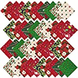 URATOT 40 Pieces Cotton Precut Fabric 8 Different Christmas Printing Random Patterns Quilting Fabric Squares 5.9 Inches Sewing Patchwork Craft Hobby DIY Fabric(40)