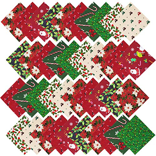 URATOT 40 Pieces Cotton Precut Fabric 8 Different Christmas Printing Random Patterns Quilting Fabric Squares 5.9 Inches Sewing Patchwork Craft Hobby DIY Fabric