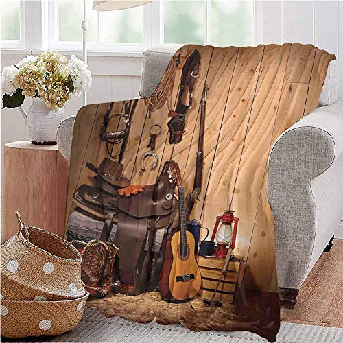 Western Baby Blanket American Texas Style Country Music Guitar Cowboy Boots USA Folk Culture Print Gifts to Your Family,Friends,Kids Twin Size Cream and Brown