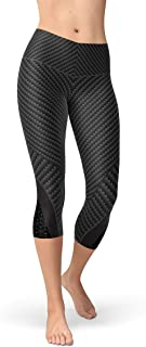 Carbon Fiber Capri Leggings Black Mid Rise Waist Calf Length Pants in Sports Design