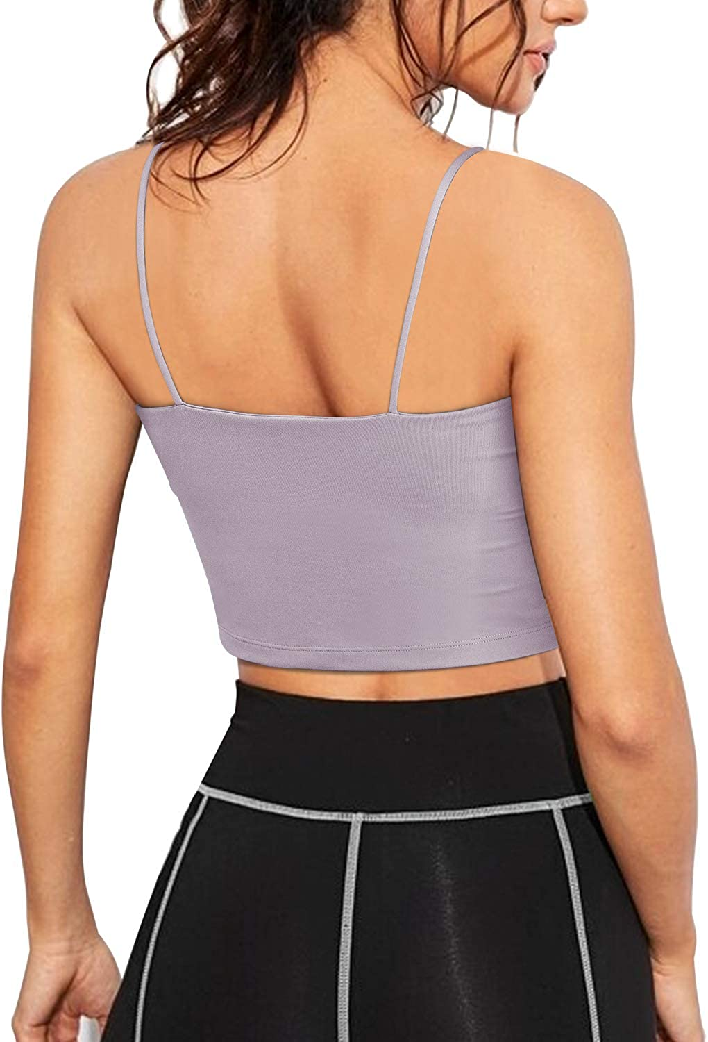 Promover Padded Sports Bra Strappy Crop Tops with Built-in Bra Workout Running Longline Yoga Bralette