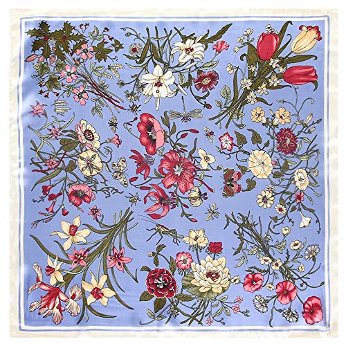 WEJNNI Silk Scarf 60 cm x 60 cm Lily Bouquet Flower Lady Small Square Scarf