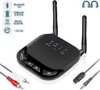 Bluetooth トランスミッター レシーバー 受信機/送信機/バイパス 一台三役 aptx HD aptx LL AUX RCA SPDIF接続 光デジタル接続 信号強化版 2台同時接続 高音質 低遅延 低ノイズ 20時間連続作動