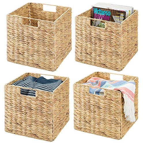 mDesign Storage Basket - Set of 4 - Foldable Water Hyacinth Storage Box - Basket Storage Unit Ideal for Storing Clothes, Toys or Magazines - with Wickerwork Pattern - Natural