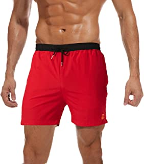 JustSun Men's Swimming Trunks Quick-Drying Summer Board Shorts with Mesh Lining