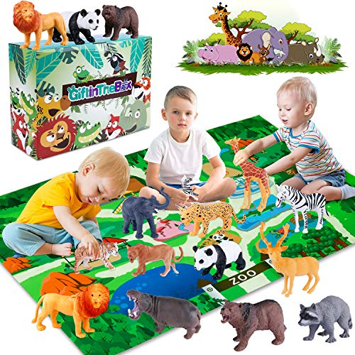 GiftInTheBox Safari Animal Figurines Toys with Activity Play Mat , Realistic Plastic Jungle Wild Zoo Animals Figures Playset with Elephant, Giraffe, Lion, Panda,Gift for Kids, Boys …