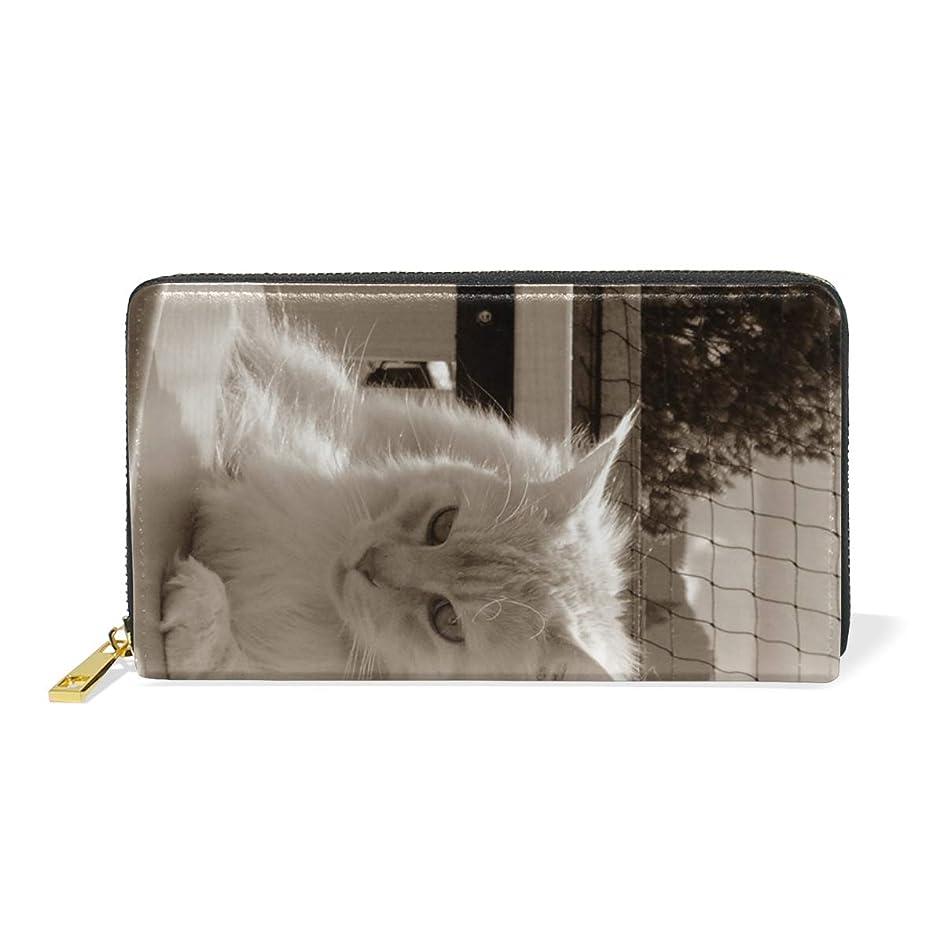 繰り返し繁栄する有効化AyuStyle 財布 長財布 レディース メンズ PU レザー ファスナー 小銭入れあり お札入れ カード入れ 二つ折り 大容量 可愛い 個性的 猫柄 ネコ 写真
