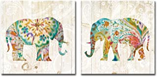 DekHome 2 Panels Elephant Canvas Wall Art Boho Paisley Elephant Prints Colorful Animal Pictures Abstract Wildlife Artwork for Bedroom Living Room Decor Framed Ready to Hang 16