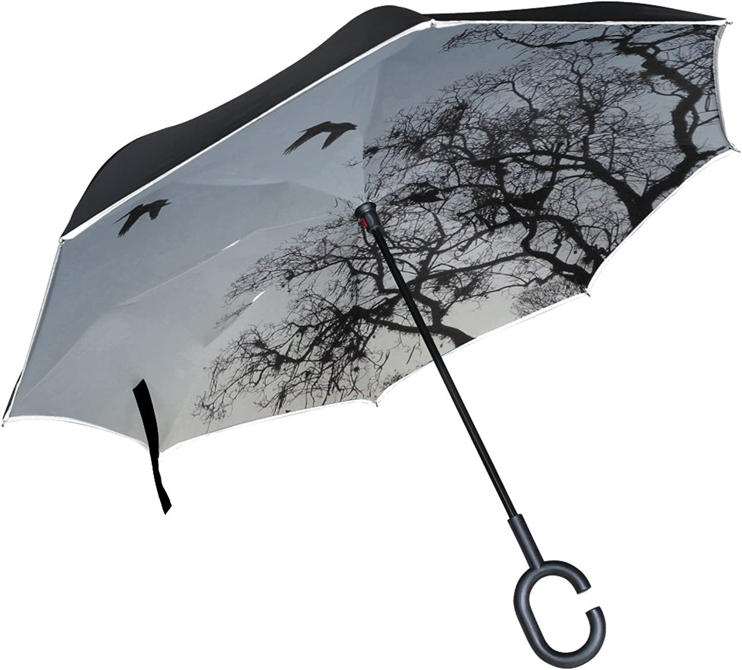 Double Layer Ingreened Tree Branches Birds Sunset Umbrellas Reverse Folding Umbrella Windproof Uv Predection Big Straight Umbrella for Car Rain Outdoor with CShaped Handle