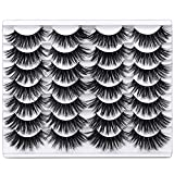 Newcally Lashes False Eyelashes 14 Pairs 5D Fluffy Natural Faux Mink Lashes Thick Crossed Soft Handmade Eye Lashes Pack