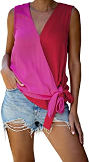 Bdcoco Womens V Neck Color Block Tank Tops Tie Front Casual Sleeveless Tunic Blouses