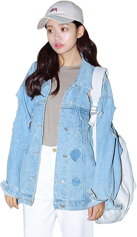 TSINYG Women Fashion Boyfriend Style Loose Denim Jacket Long Sleeves Casual Coat Cool ( color   bluee , Size   S )