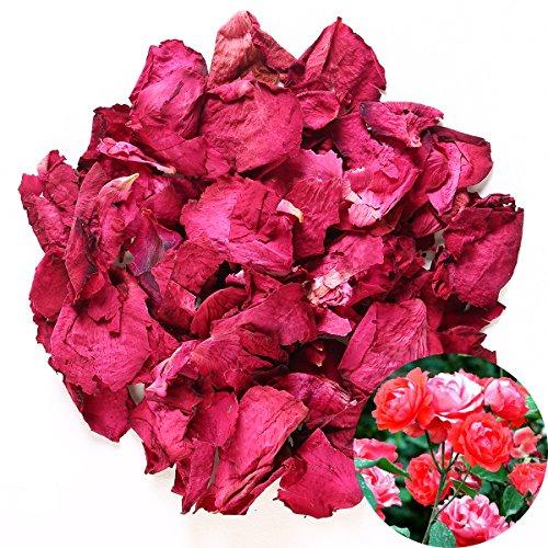 TooGet - Petali di rosa rossa essiccati naturali, fiori secchi all'ingrosso, ideali per decorazioni per feste di nozze, bagno, bagnoschiuma, pediluvio, tè, forno, potpourri, artigianato, 56,7 g