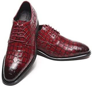 ZhaoXin Chen Oxford for Men Business Shoes with Crocodile  Texture Lace up Genuine Leather Block Heel Round Toe Burnished Style Anti Slip Formal (Color : Wine Red, Size : 8.5 UK)