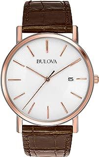 Bulova Classic Mens 98H51XG Quartz Rose Gold Case Brown Leather Strap 37mm Watch(Renewed)