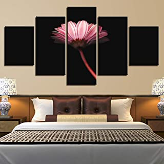 HGJGJY Home Decor Canvas Pictures HD Printed 5 Pieces Lonely Flower Dark Pink Painting Modular Poster Living Room Wall Art