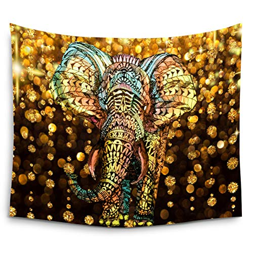 Elephant Tapestry,watercolor Aztec Gold Elephant With Gold Rain Shine Flicker Glow Jewelry Stones Light/Indian Bohemian Wall Hanging Tapestry For Wall Hanging Decor For Bedroom Living Room Dorm