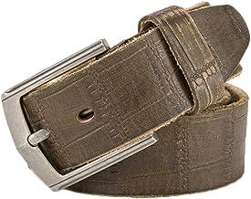 Alloy Buckle Press Wrinkle Color With Buckle Men's Genuine Leather Belt Casual Belt (Color : ArmyGreen, Size : 105-125CM)