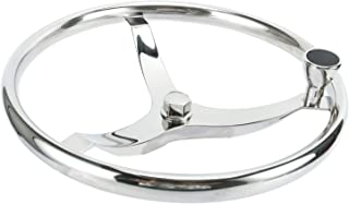 YaeMarine Stainless Steel Boat Steering Wheel 3 Spoke 15-1/2 Dia,  with 1/2 Nut and Turning Knob for Seastar and Verado