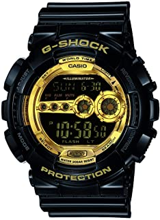 Casio Men's XL Series G-Shock Quartz 200M WR Shock Resistant Resin Color: Black & Gold (Model GD-100GB-1ACR)