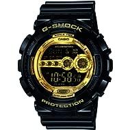 Men's XL Series G-Shock Quartz 200M WR Shock Resistant Resin Color: Black & Gold (Model...