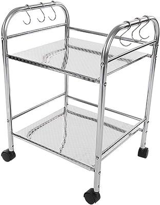 Zoternen Storage Cart, 2-Tier Rolling Cart Shelf Rack Kitchen Organizer Storage Holder Stainless Steel Multi-Function Shelf