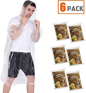 COOY Rain Ponchos,with Drawstring Hood (6 Pack) Emergency Disposable Rain Ponchos Family Pack for Adults,Fit Men and Women, Perfect for Disneyland,Clear
