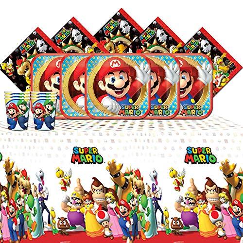 amscan Súper Fiesta de cumpleaños de Super Mario Bros Brothers, Paquete de vajilla para 8 Personas