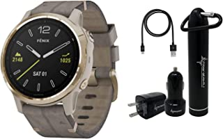 Garmin Fenix 6S Smaller-Sized Multisport GPS Watch with Wrist-Based Heart Rate Pulse Ox and Wearable4U Ultimate Power Bundle (Sapphire/Light Gold-Tone with Shale Gray Leather Band)