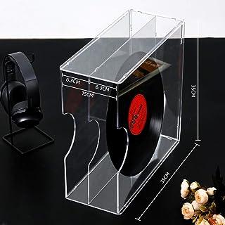 Estante de almacenamiento de discos de vinilo doble, sala de reuniones de oficina Salón Soporte de CD acrílico transparent...