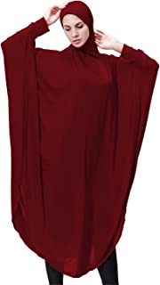GladThink Womens Muslim Bat's-wing-sleeves Dress Hijab Two in One