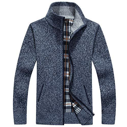 Chaqueta de suéter de Cuello Alto Relajado para Hombre Moda Simple Casual Cómodo Todo-fósforo Espesar Abrigo de Punto cálido con Cremallera S
