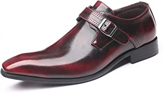 YND Men's Monk Strap Shoes, Brush-Off Leather Slip Ons, Loafer with Single Buckle