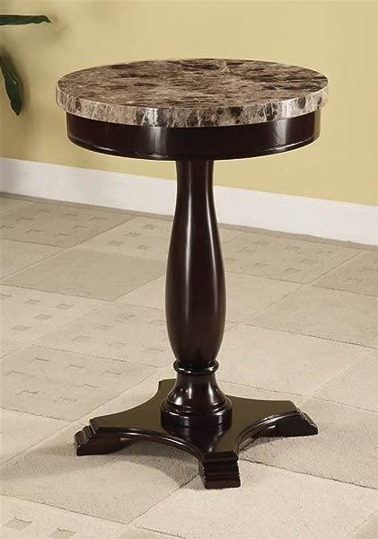 ADF Round Table Marble Veneer Top And Espresso Base