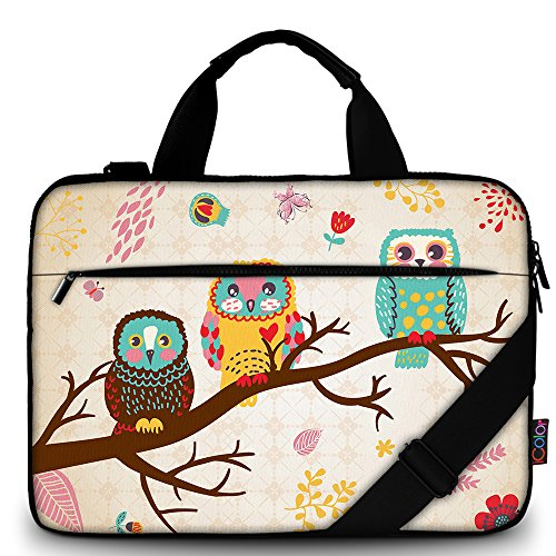 iColor 15' Laptop Shoulder Bag Case14' 15.4 inch Canvas Computer Tablet Protective Carrying Sleeve14-15.6 inch Notebook Briefcase with Handle (14'~15.6', Owl)
