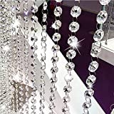 Crystal Beads Chain,Clear Crystal Garland Chandelier Octagon Beads Glass Crystal Chandelier Beads Lamp Chain for Wedding Party Tree Garlands Decoration DIY Jewelry Making 16.4Ft(5M)