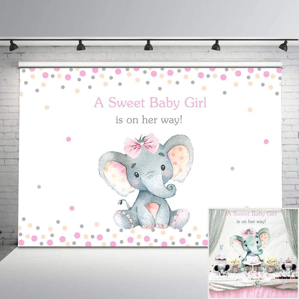 Mehofoto OFFicial shop Elephant Very popular! Baby Shower Backdrop Pink Phot Little