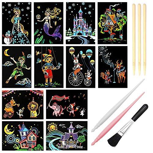 Lucky Meet Scratch Art Paper, Rainbow Night View krasbord pads voor volwassenen en kinderen, mini envelop ansichtkaart kunst & ambachten Set