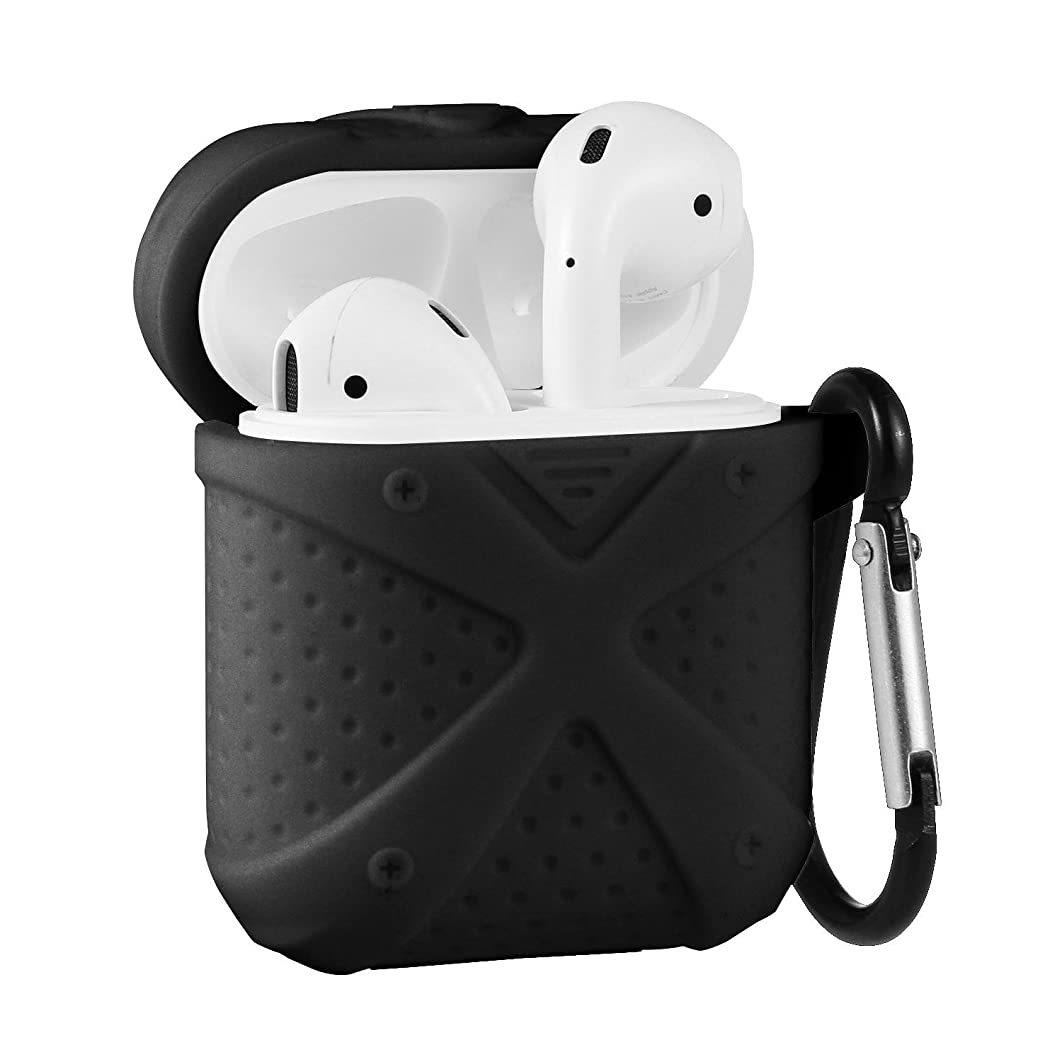 Teepao Earphone Case With Strap, Earphone Hang Protective Silicone Case Cover and Skin Accessories With Keychain for Apple AirPods Charging Case (Black #02)