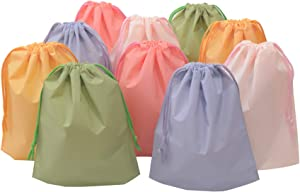 Drawstring Treat Cello Bags for Kids Party Favors Goodies Gift Wrapping, Gym Sports Travel Garments Organizing Storage, Assorted Colors Plastic Bags Bottom Gusset (8'' x 10'')