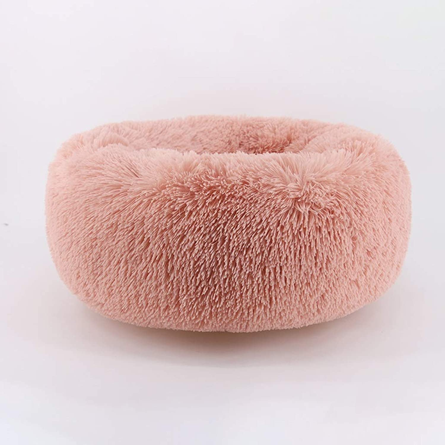 Onnear Modern Soft Plush Round Pet Bed for Cats or Small Dogs, Self Warming and Breathable Pet Bed Premium,Warmth and Security (color   Pink, Size   L)