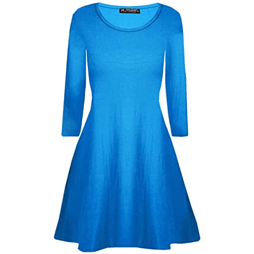 Be Jealous Womens Long Sleeve Mini Bodycon Ladies Lace Up Eyelet Flared V  Neck Swing Dress f8ba588bf