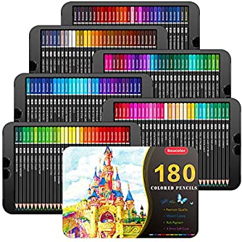 Soucolor 180-Color Artist Colored Pencils Set for Adult Coloring Books Soft Core Professional Numbered Art Drawing Pencils for Sketching Shading Blending Crafting Gift Tin Box for Beginners Kids
