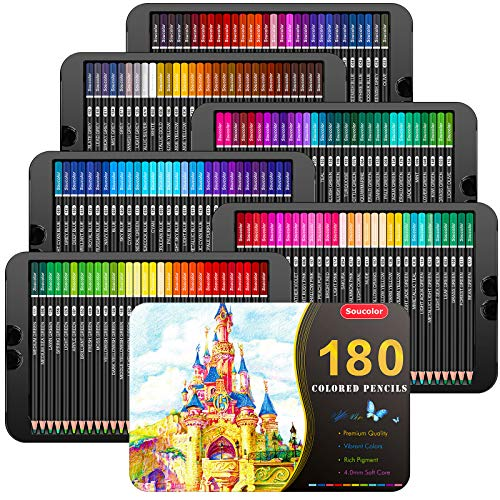 Soucolor 180Color Artist Colored Pencils Set for Adult Coloring Books Soft Core Professional Numbered Art Drawing Pencils for Sketching Shading Blending Crafting Gift Tin Box for Beginners Kids
